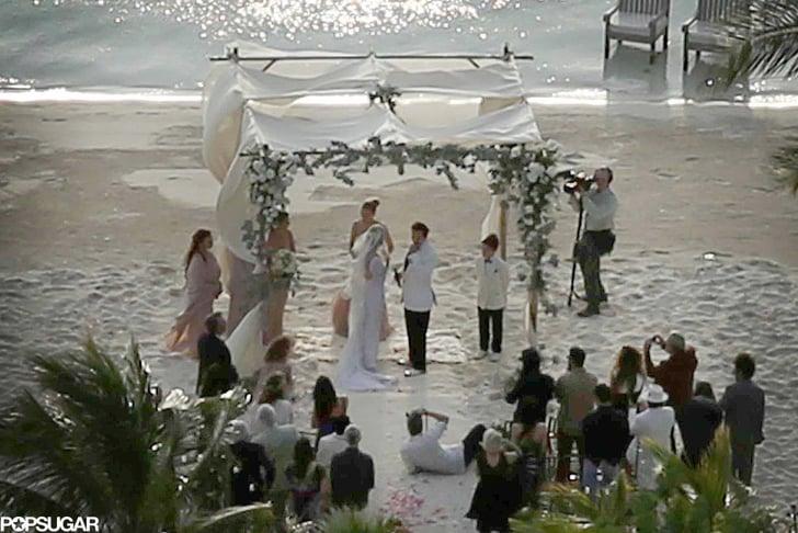 Amber Herad y Johnny Depp frente al altar en su boda en las Bahamas