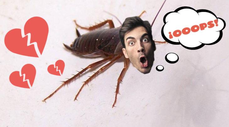 Cucaracha con rostro de hombre, corazones rotos