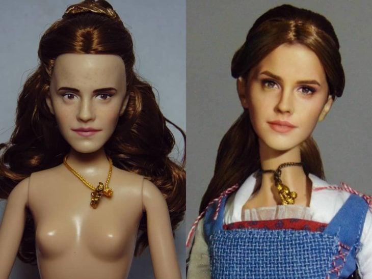Muñeca tipo Barbie repintada para dar mayor parecido a Bella de la película La Bella y la bestia
