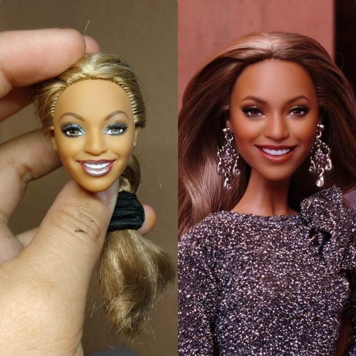 Muñeca tipo Barbie repintada para dar mayor parecido a Beyonce