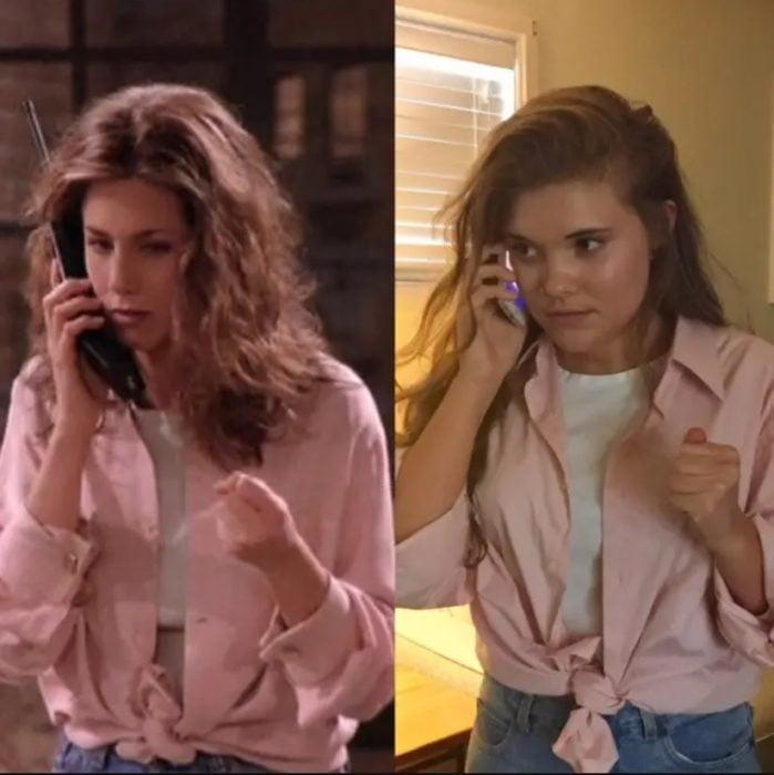 Outfit inspirado en Rachel de Friends con camisa rosa y blusa blanca