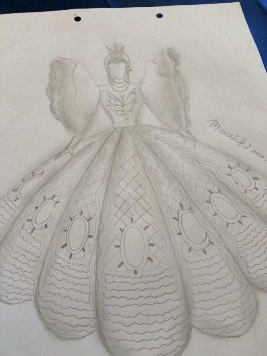 Boceto del vestido que diseño Maverick para su hermana Lu Asey