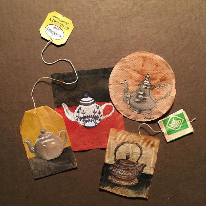 Separadores de libros hechos con bolstas de té decoradas