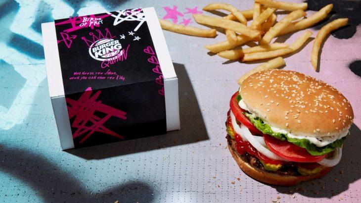 Caja de hamburguesa y papas de burger King edición 14 de febrero