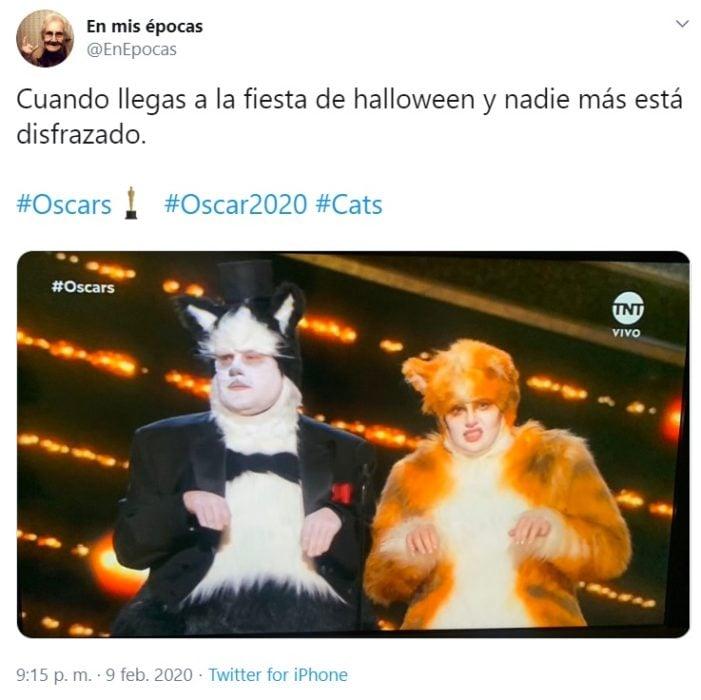 Captura de Twitter de Cats en los Oscars 2020
