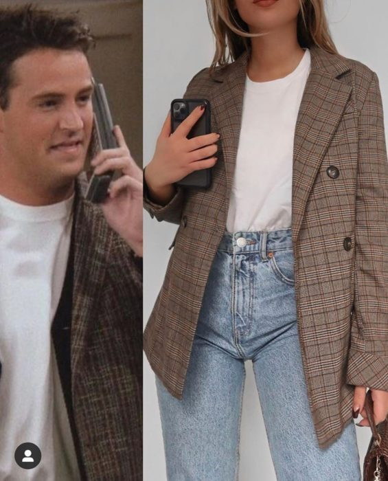 Outfit inspirado en Chandler de Friends con americana en estampado escoses café