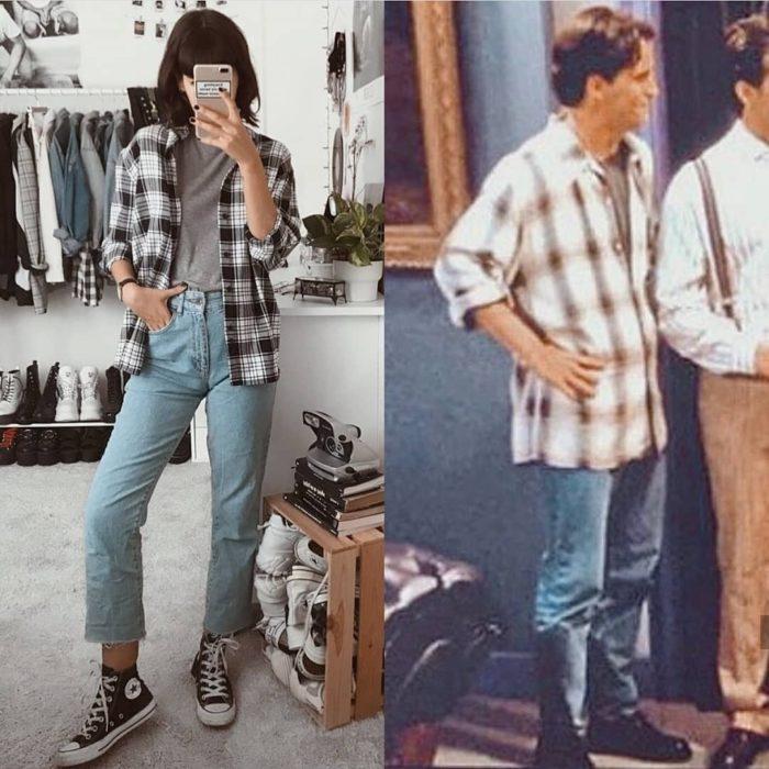 Outfit inspirado en Friends usando jeans, camisa a cuadros y converse negros