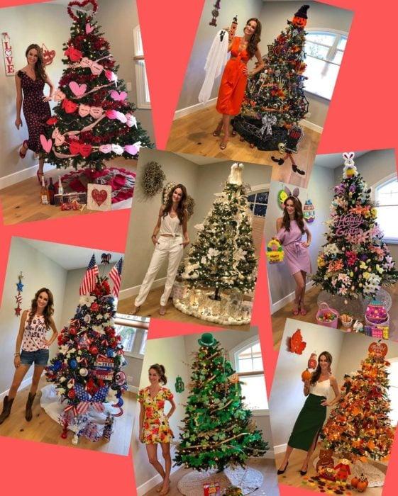 Nadia Colucci, chica junto a árboles de Navidad decorados por festividad