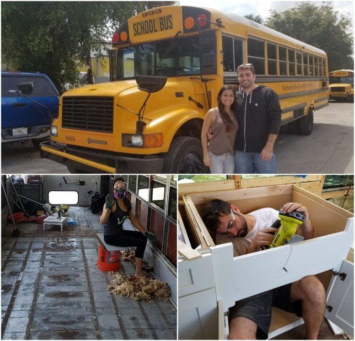 Pareja adquiere autobús escolar y lo remodela