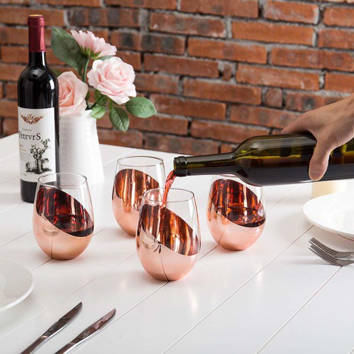 Copas de vino sin tallo