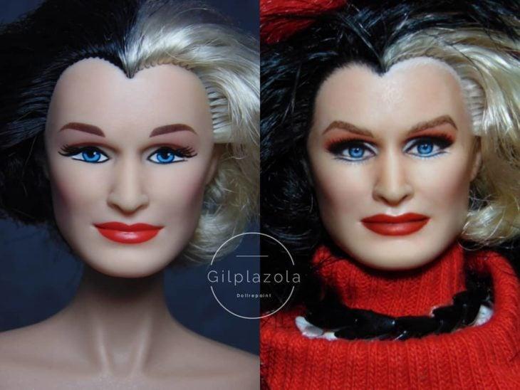 Muñeca tipo Barbie repintada para dar mayor parecido a Cruella de Vil de 101 dalmatas
