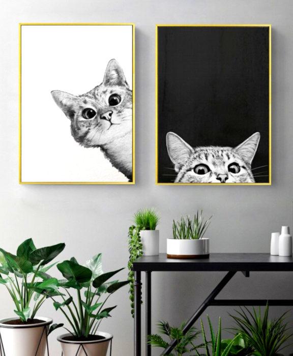 Decoración negra para tu casa; cuadro de gatos