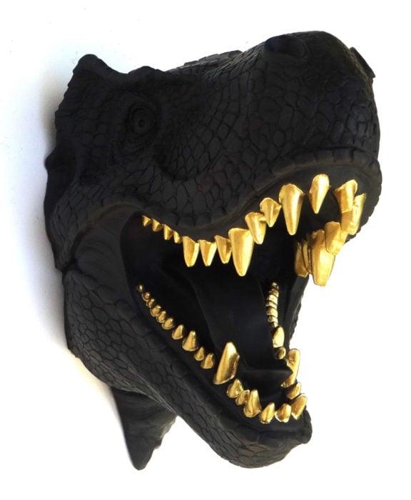 Decoración negra para tu casa; adorno de tiranosaurio rex para la pared