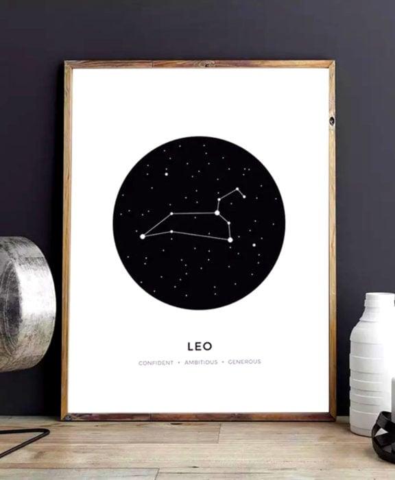 Decoración negra para tu casa; cuadro de signos zodiacales