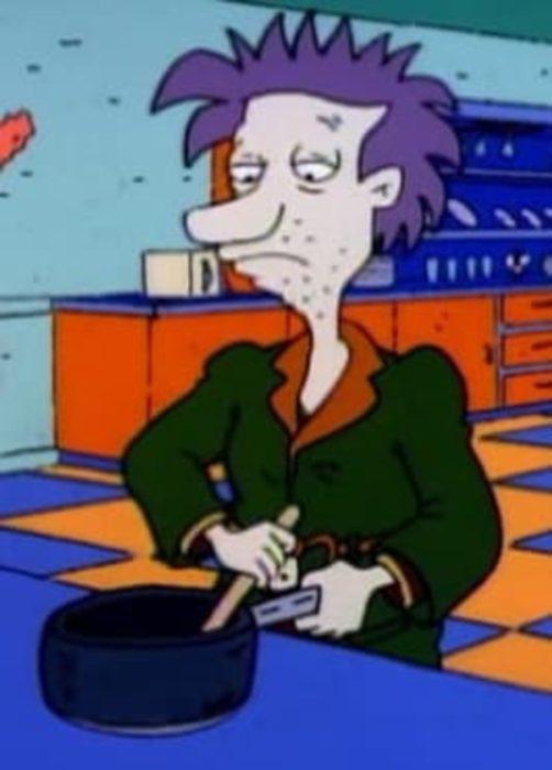 Hugo Pickles cocinando, escena de la caricatura Rugrats
