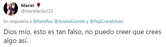 Tuit sobre supuestos mensajes filtrados de Ariana Grande hablando mal de otras celebridades