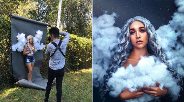 Detrás de cámaras de fotografía de modelo disfrazada de ángel