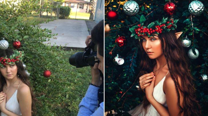 Detrás de cámaras de fotografía de modelo disfrazada de elfo, posando delante de un árbol de navidad