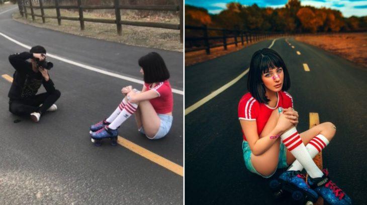Detrás de cámaras de fotografía de modelo posando en carretera usando patines