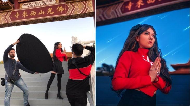 Detrás de cámaras de fotografía de chica ninja