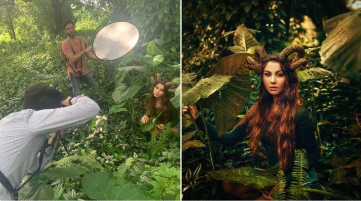 Detrás de cámaras de fotografía de modelo disfrazada de fauno en medio del bosque