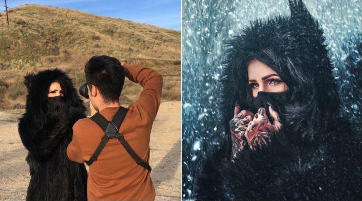 Detrás de cámaras de fotografía de modelo usando ropa de invierno, simulando que se encuentra en una nevada