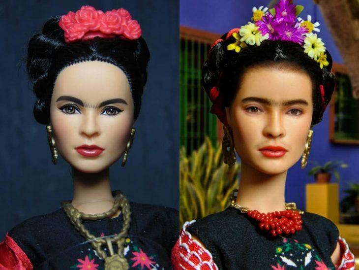 Muñeca tipo Barbie repintada para dar mayor parecido a la artista mexicana Frida Kahlo