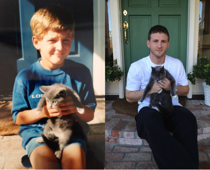 Antes y después de humanos con sus mascotas; niño y perro
