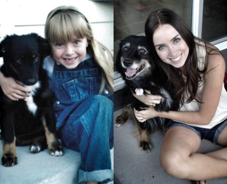 Antes y después de humanos con sus mascotas; niña y perro