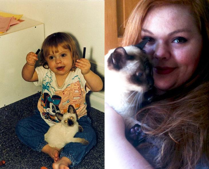 Antes y después de humanos con sus mascotas; niña y gato siamés