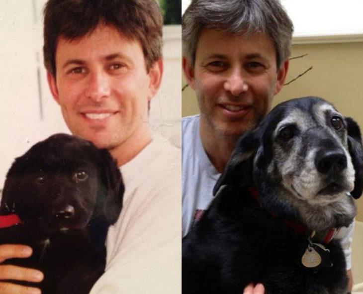 Antes y después de humanos con sus mascotas; hombre y perro viejito