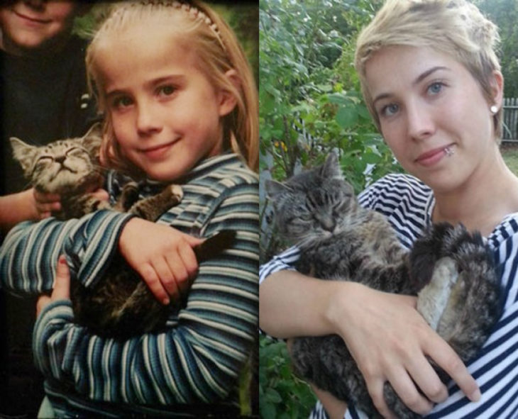 Antes y después de humanos con sus mascotas; niña y gato