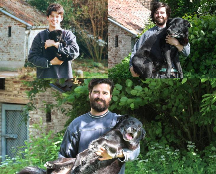 Antes y después de humanos con sus mascotas; chico y perro
