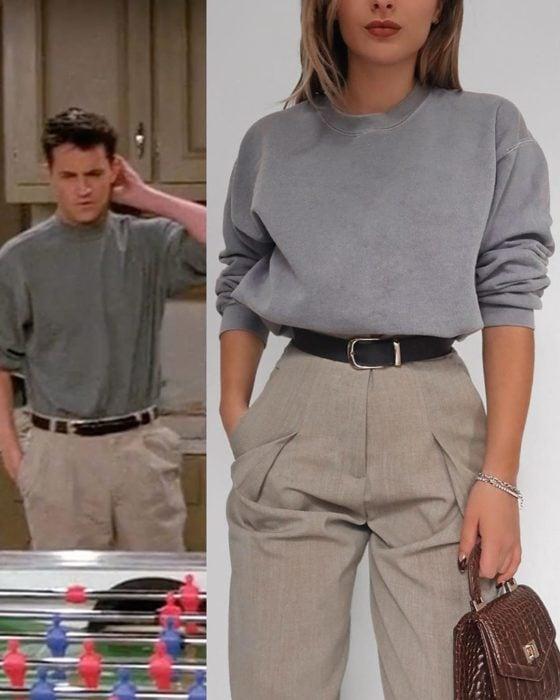 Outfit inspirado en Joey de Friends usnado pantalón de vestir y sudadera gris