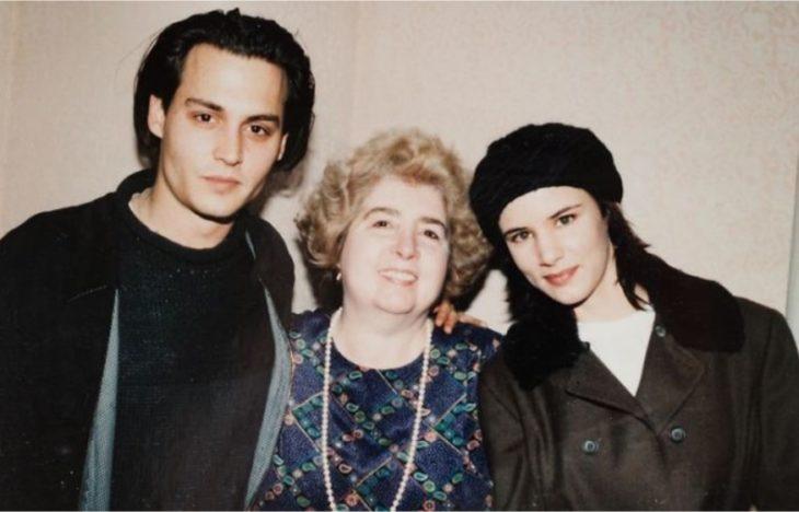 Maria Snoeys-Lagler con Johnny Depp y Juliette Lewis