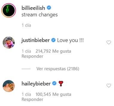 Comentarios de Justin Bieber a Billie Eilish en su cuenta de Instagram