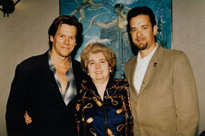 Maria Snoeys-Lagler con Kevin Bacon y Tom Hanks