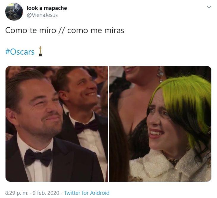 Captura de Twitter con reacción de Billie Elish y Leonardo DiCaprio