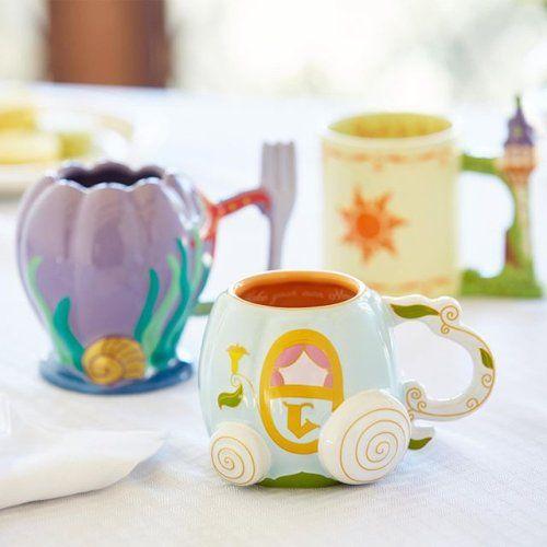 Tazas cafeteras con diseño inspirado en lso carruajes de las princesas Disney