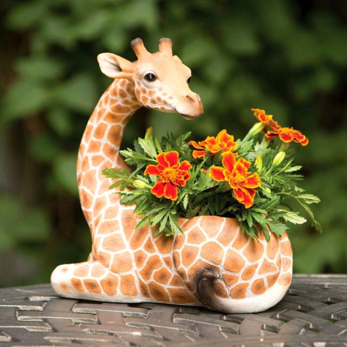 Macetas tiernas y originales de animales; jirafa