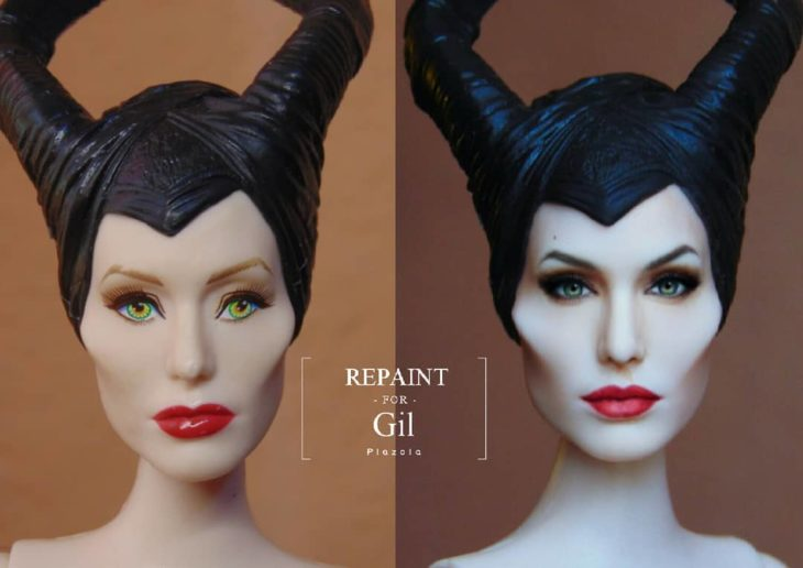 Muñeca tipo Barbie repintada para dar mayor parecido a la villana Maléfica de la película con el mismo nombre
