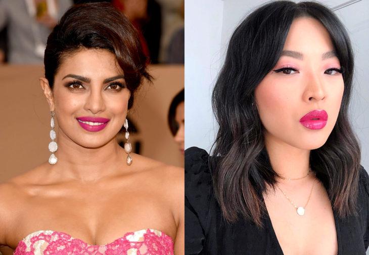 Maquillaje de famosas para San Valentín; Priyanka Chopra con labial rosa