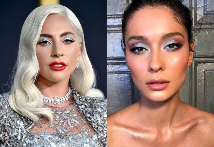 Maquillaje de famosas para San Valentín; Lady Gaga con sombra de ojos plateada con flitter