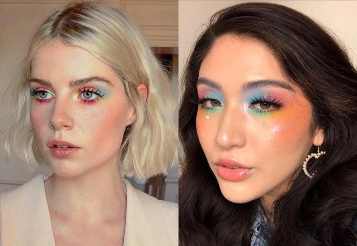 Maquillaje de famosas para San Valentín; Lucy Boynton con sombra de ojos color arcoíris