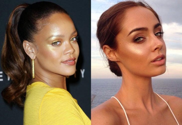 Maquillaje de famosas para San Valentín; Rihanna con iluminador dorado