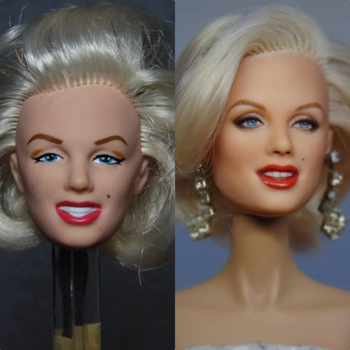 Muñeca tipo Barbie repintada para dar mayor parecido a Marilyn Monroe