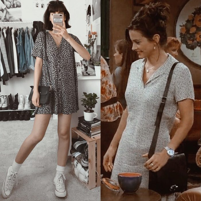 Outfit inspirado en Monica de Friends usando vestido floreado