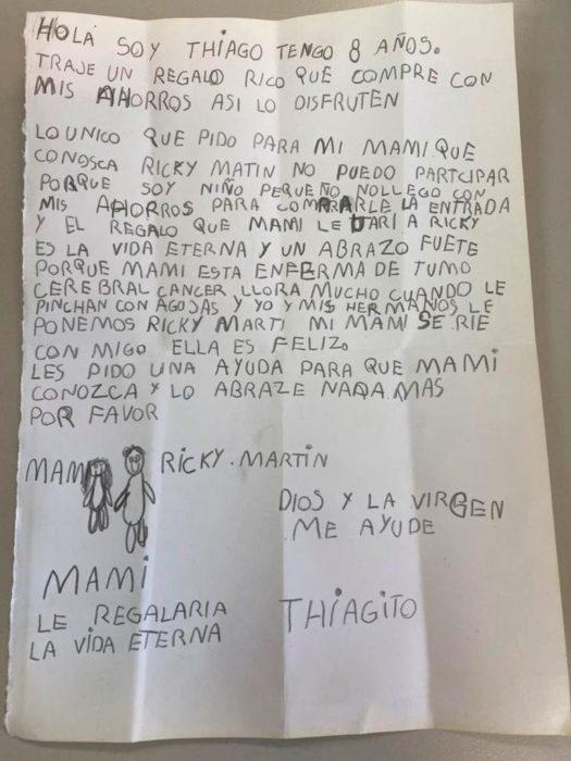 Carta de un niño a Ricky Martin pidiendole que conozca a su madre