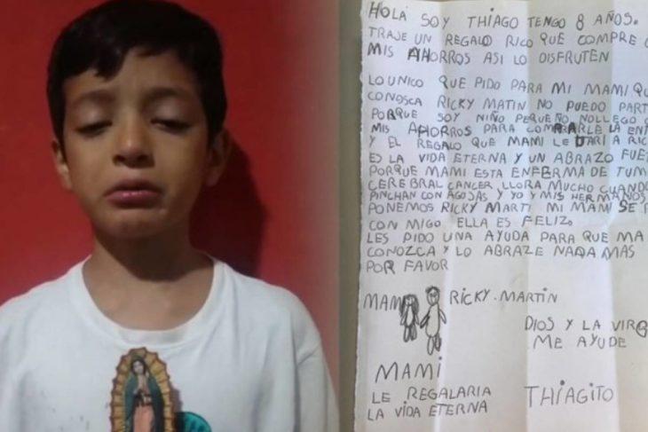 Niño pidiéndole a Ricky Martin que conozca a su madre