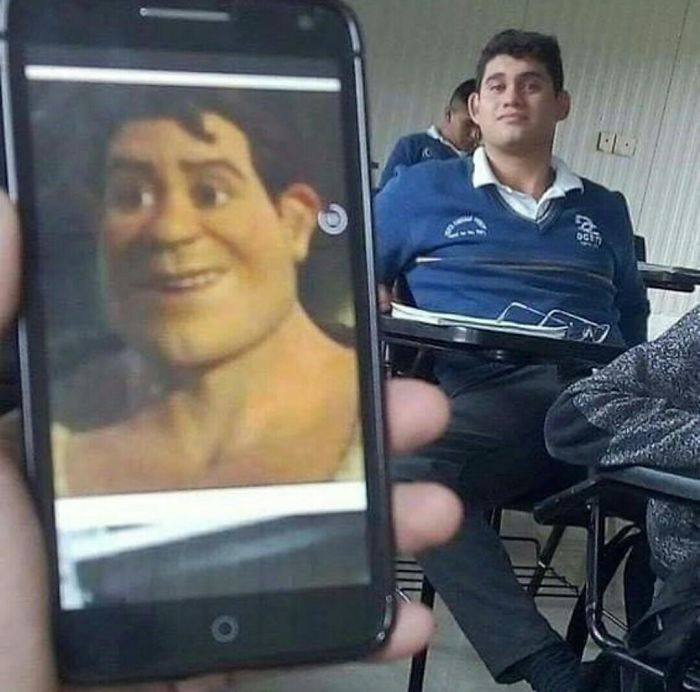 Chico comparando a su compañero con Shrek